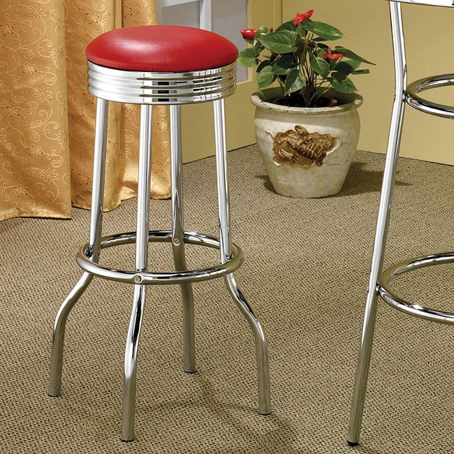 50s Soda Fountain Red Barstool (Set of 2)