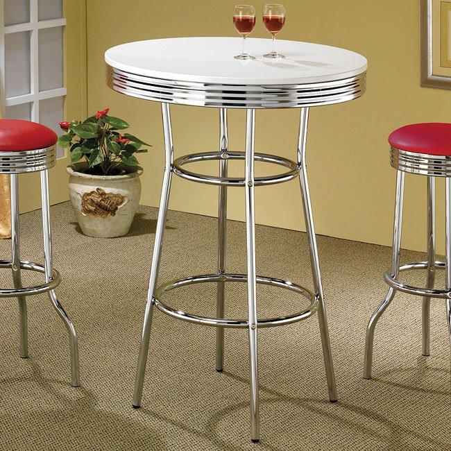 50s Soda Fountain White Top Bar Table