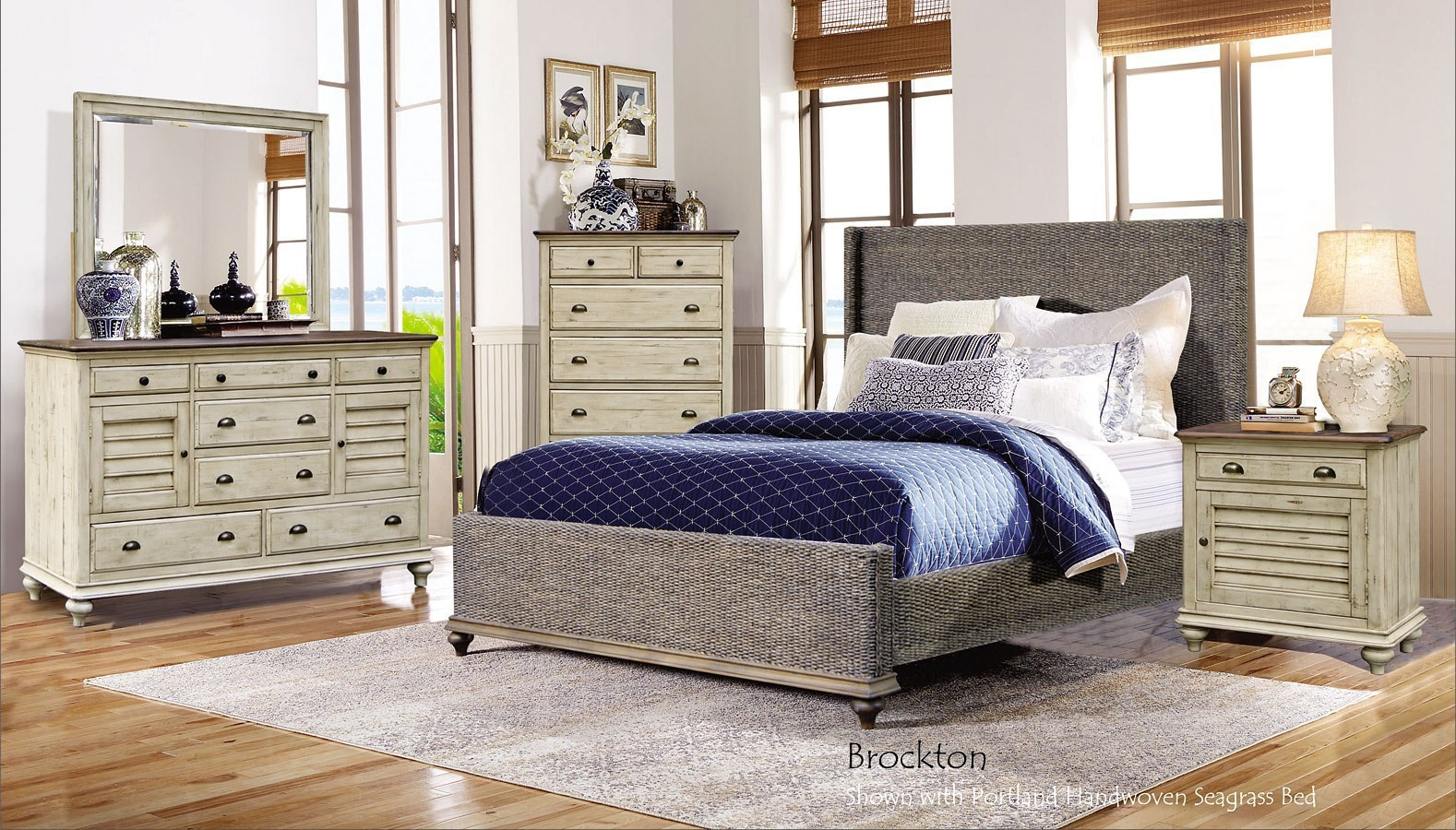 Brockton Portland Seagrass Panel Bedroom Set Cottage Creek