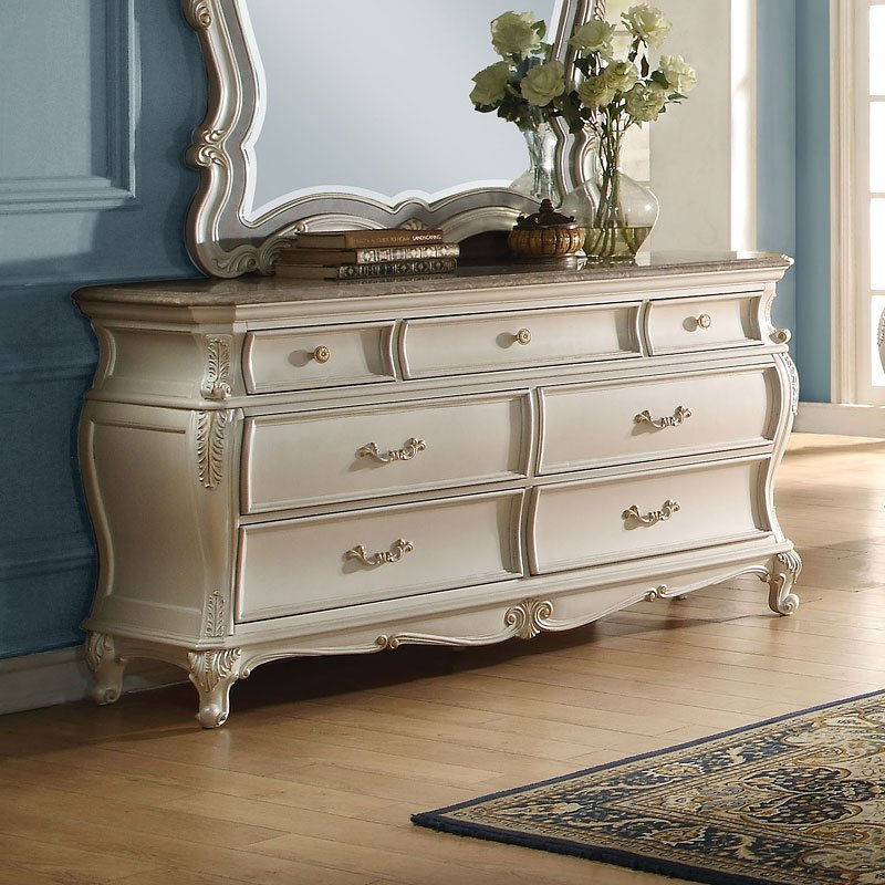 Chantelle Panel Bedroom Set Pearl White Acme Furniture