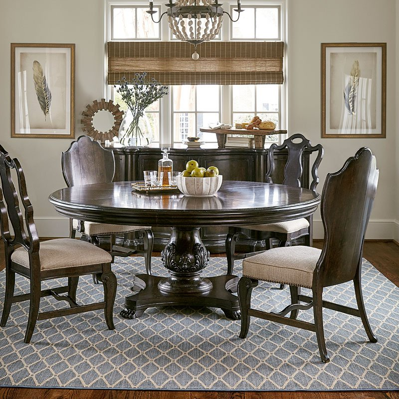 Continental 72 Inch Round Dining Room Set Melange