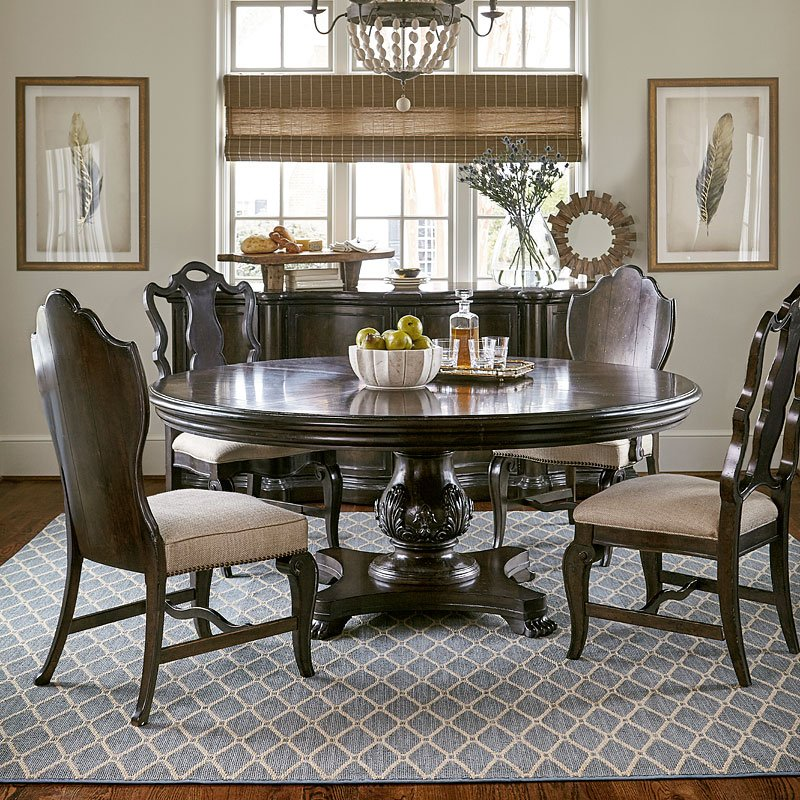 Continental 66 Inch Round Dining Room Set Melange
