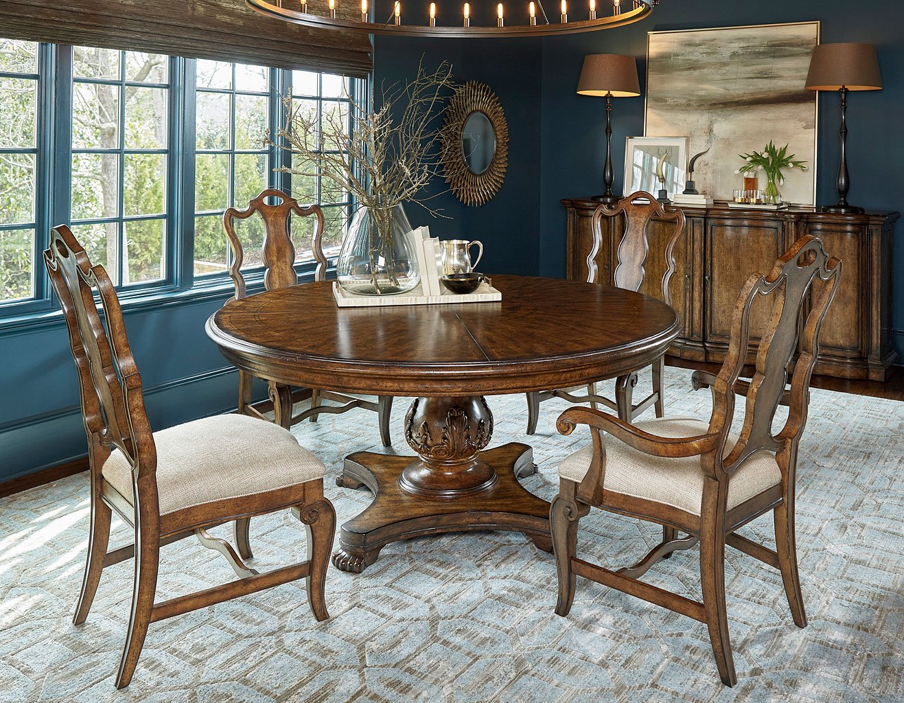 Continental 66 Inch Round Dining Room Set Nutmeg