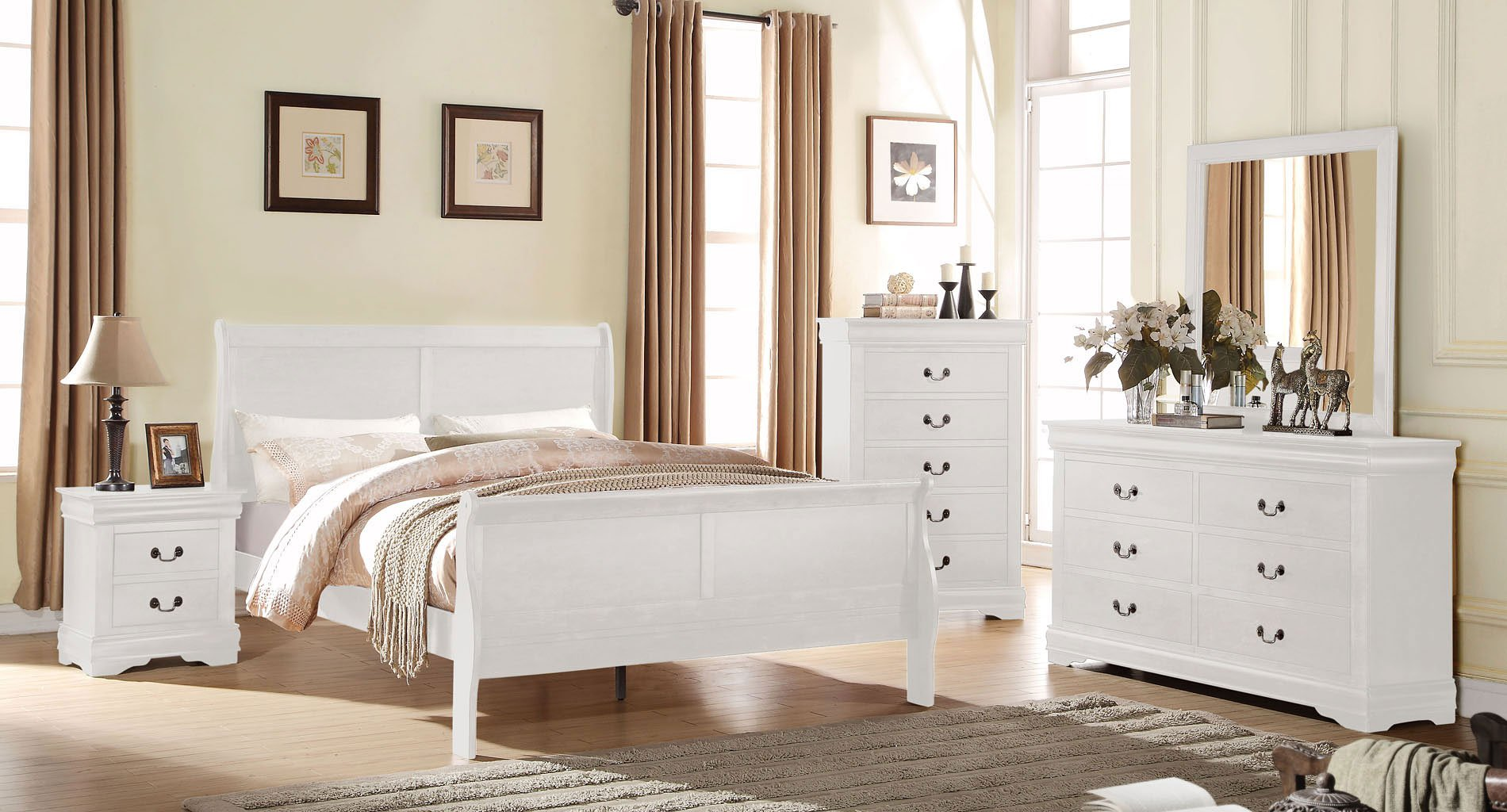 Louis Philippe Sleigh Bedroom Set (White)