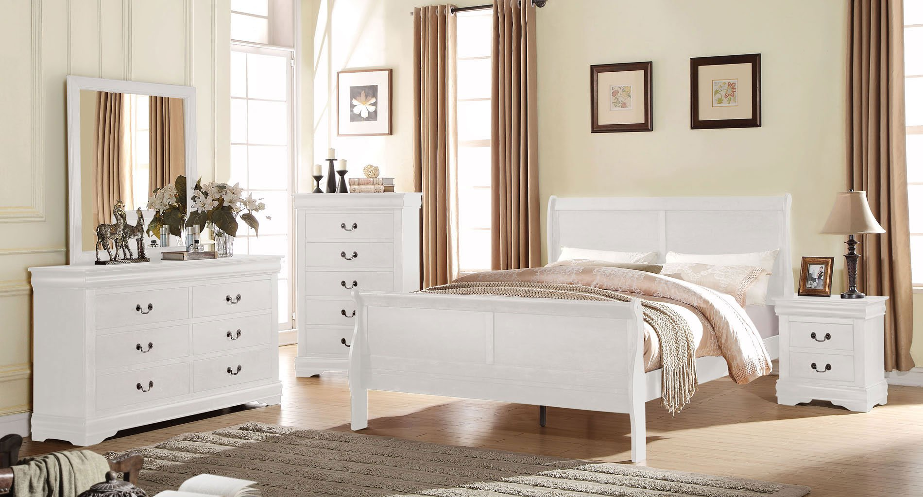 Louis Philippe Youth Sleigh Bedroom Set (White)