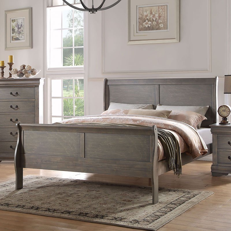 Louis Philippe Sleigh Bed Antique Gray Acme Furniture