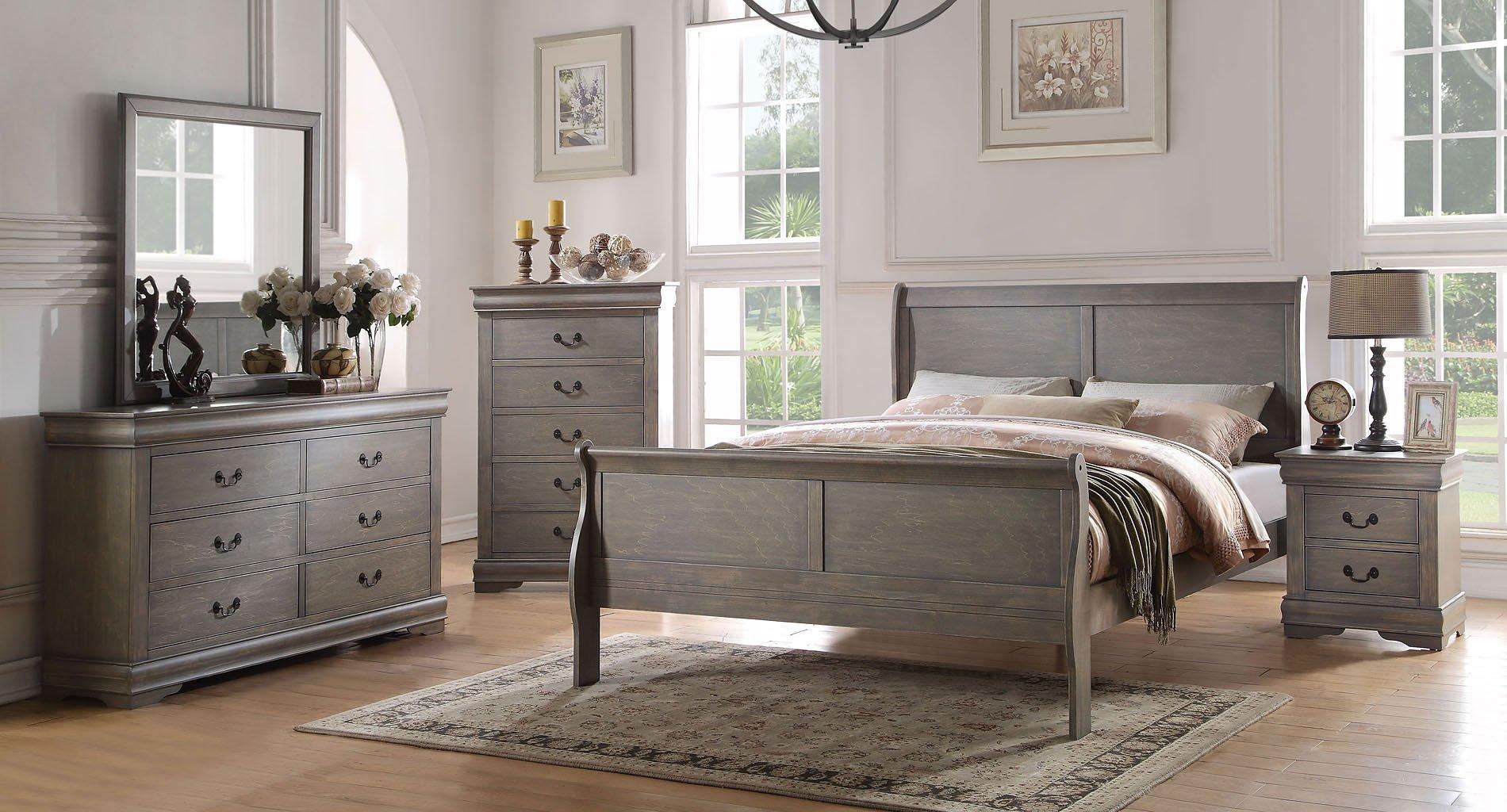 Louis philippe sleigh bedroom set antique gray acme - Louis philippe bedroom collection ...