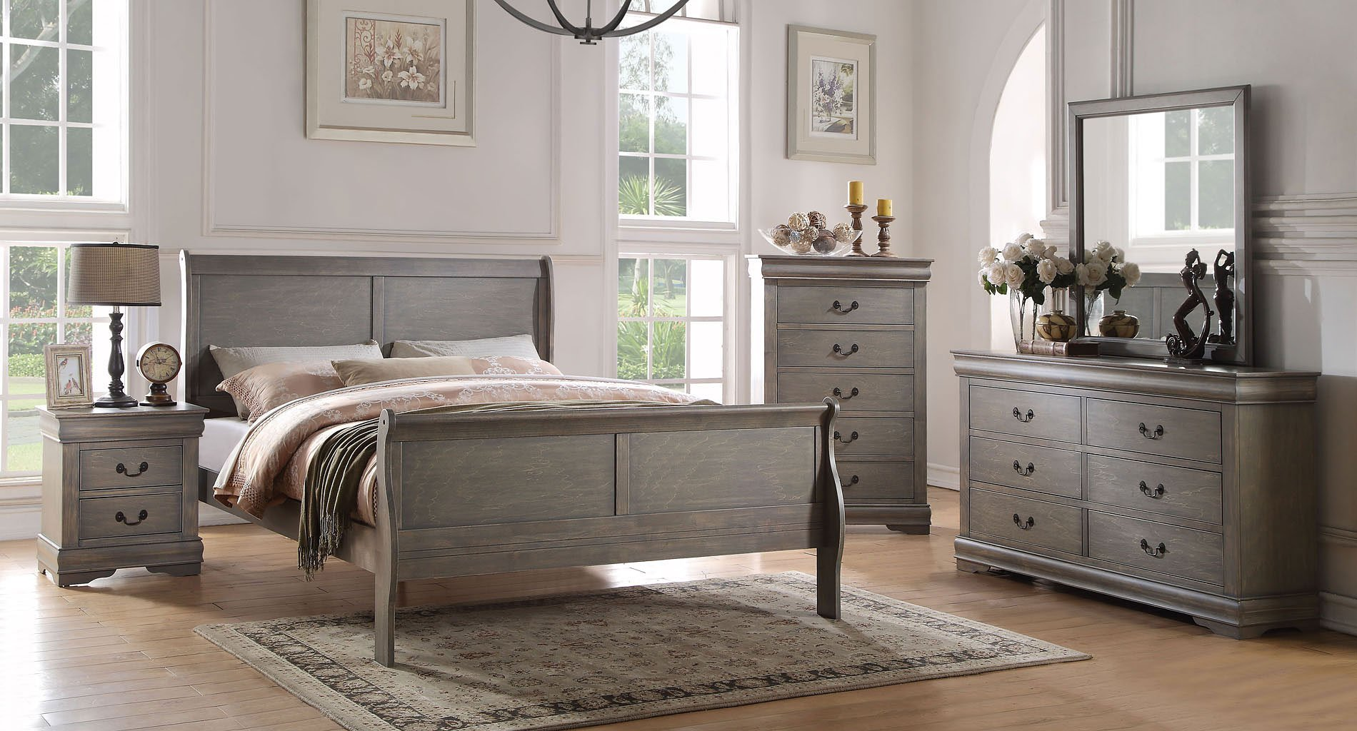Louis Philippe Youth Sleigh Bedroom Set Antique Gray Acme Furniture Furniture Cart