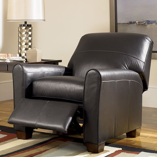 Ashley Furniture Rivergate: Black Low Leg Recliner Signature Design