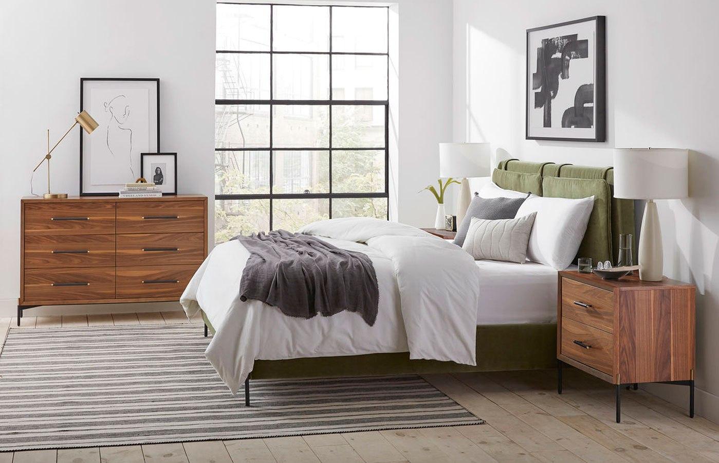 Bobby Berk Kirkeby Upholstered Bedroom Set Moss Art Furniture Furniture Cart