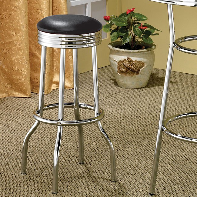 50s Soda Fountain Black Barstool (Set of 2)