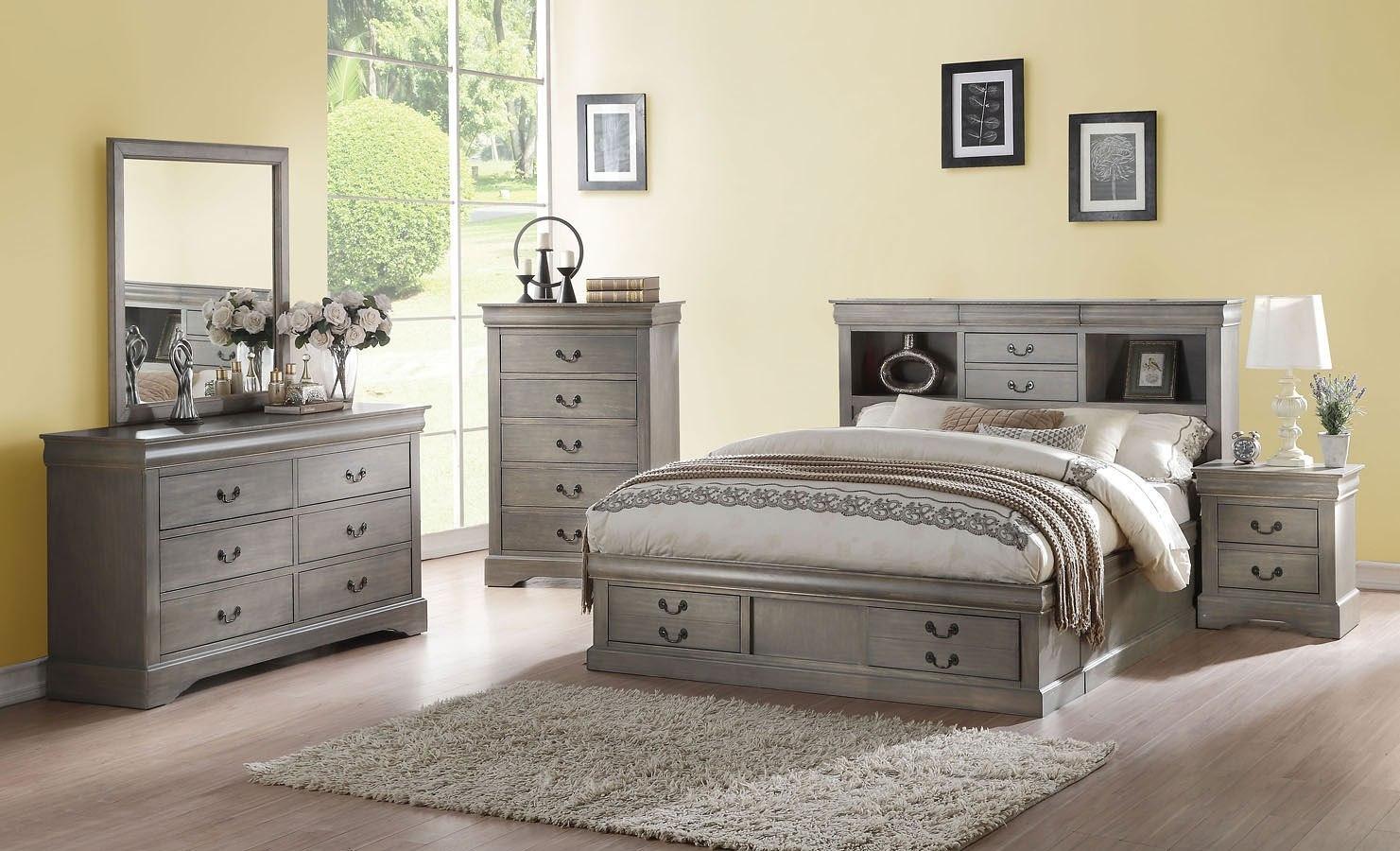 Louis philippe iii bookcase bedroom set antique gray - Louis philippe bedroom collection ...