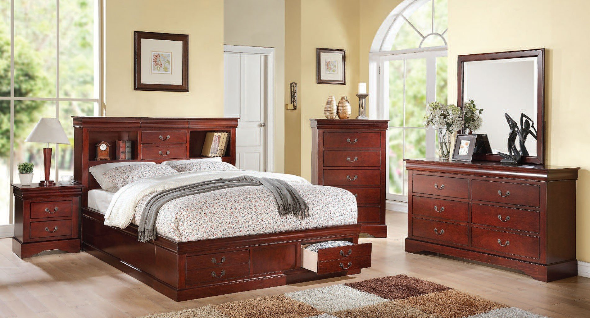 Louis Philippe Iii Bookcase Bedroom Set Cherry Acme Furniture Furniture Cart