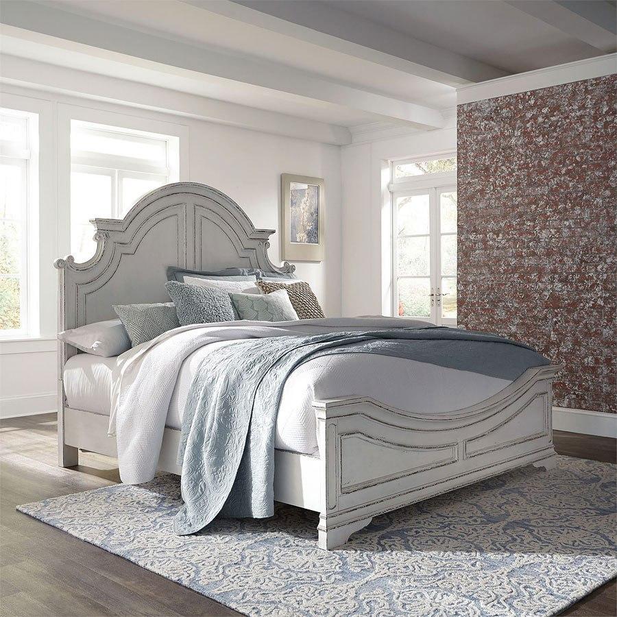 Magnolia Manor Antique White Panel Bed