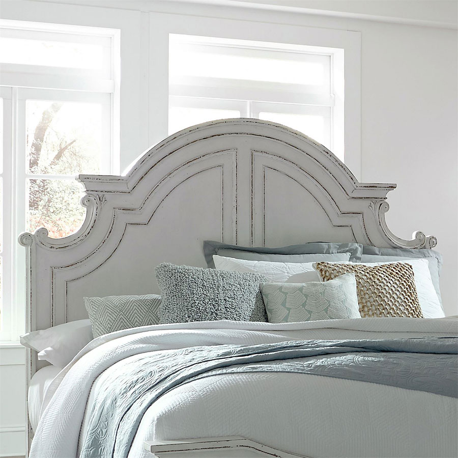 Magnolia Manor Antique White Panel Bed Liberty Furniture