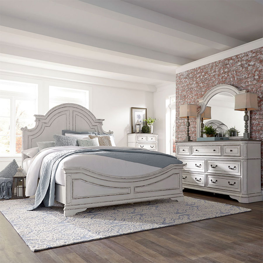 magnolia manor antique white panel bedroom set liberty