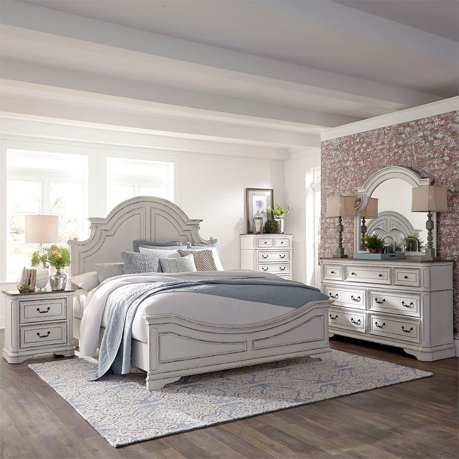 Magnolia manor antique white panel bedroom set liberty - White vintage bedroom furniture sets ...