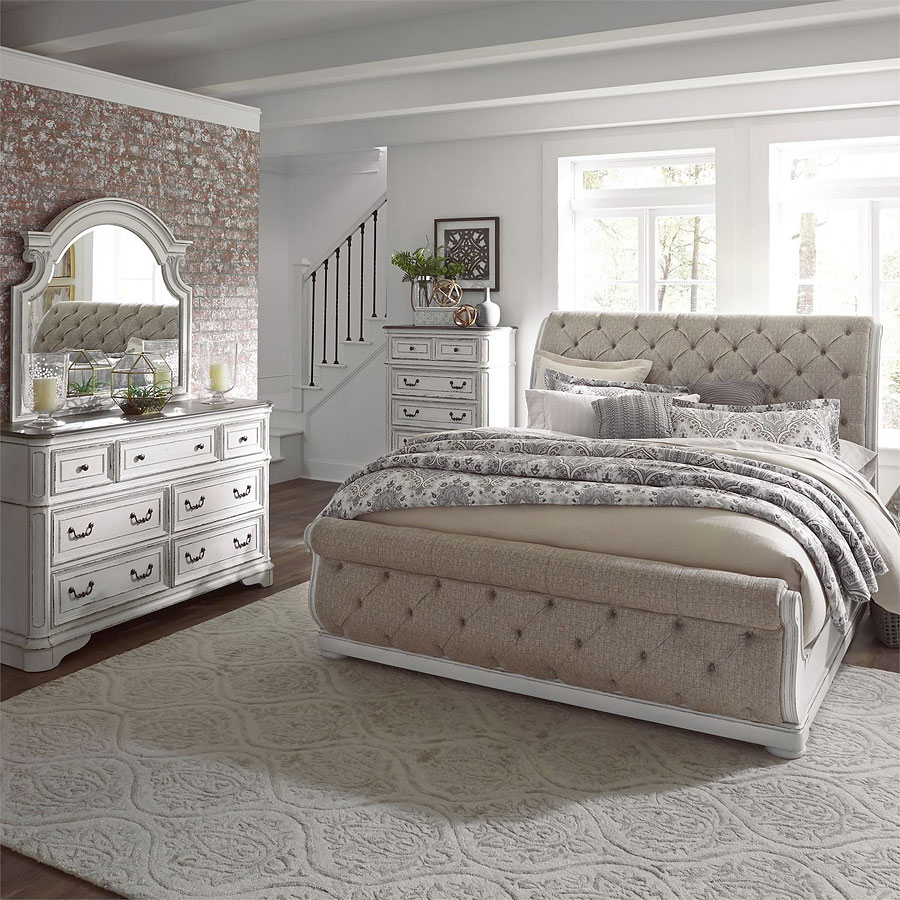 Furnuture: Magnolia Manor Upholstered Sleigh Bedroom Set Liberty