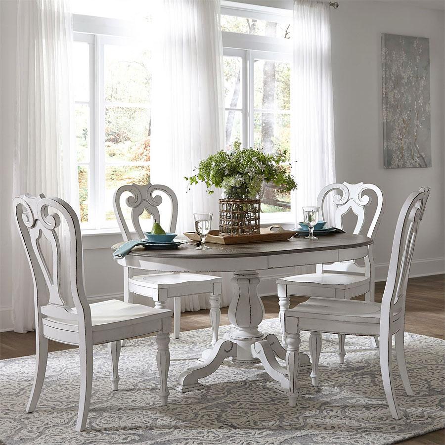 Magnolia Manor Pedestal Dining Set W/ Wood Chairs Liberty