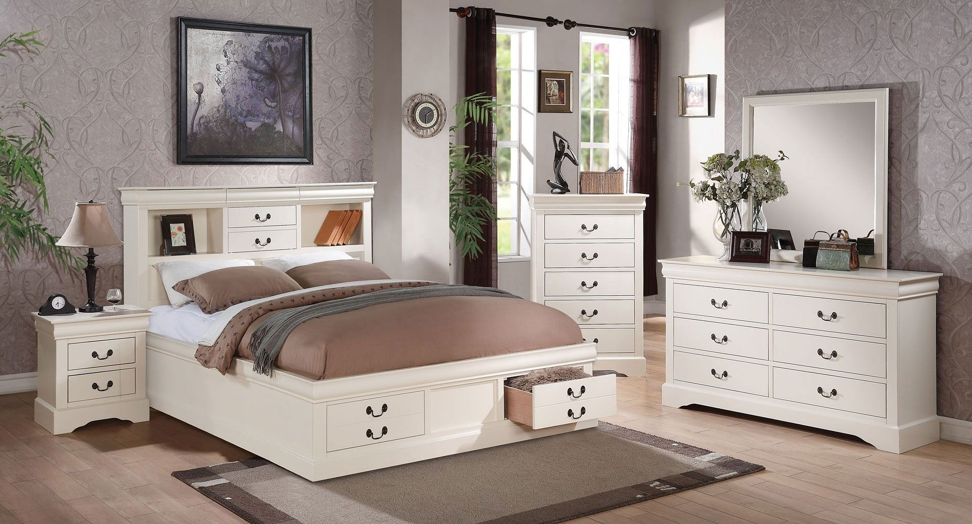 louis philippe iii bookcase bedroom set white acme 15928 | 24490q br set 1