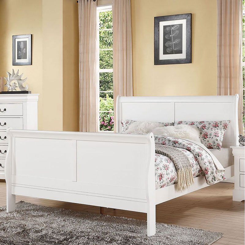 Louis Philippe Iii Sleigh Bed White Acme Furniture