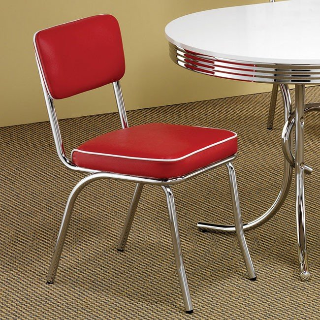 Retro Dining Room Set W/ Red Chairs Coaster Furniture