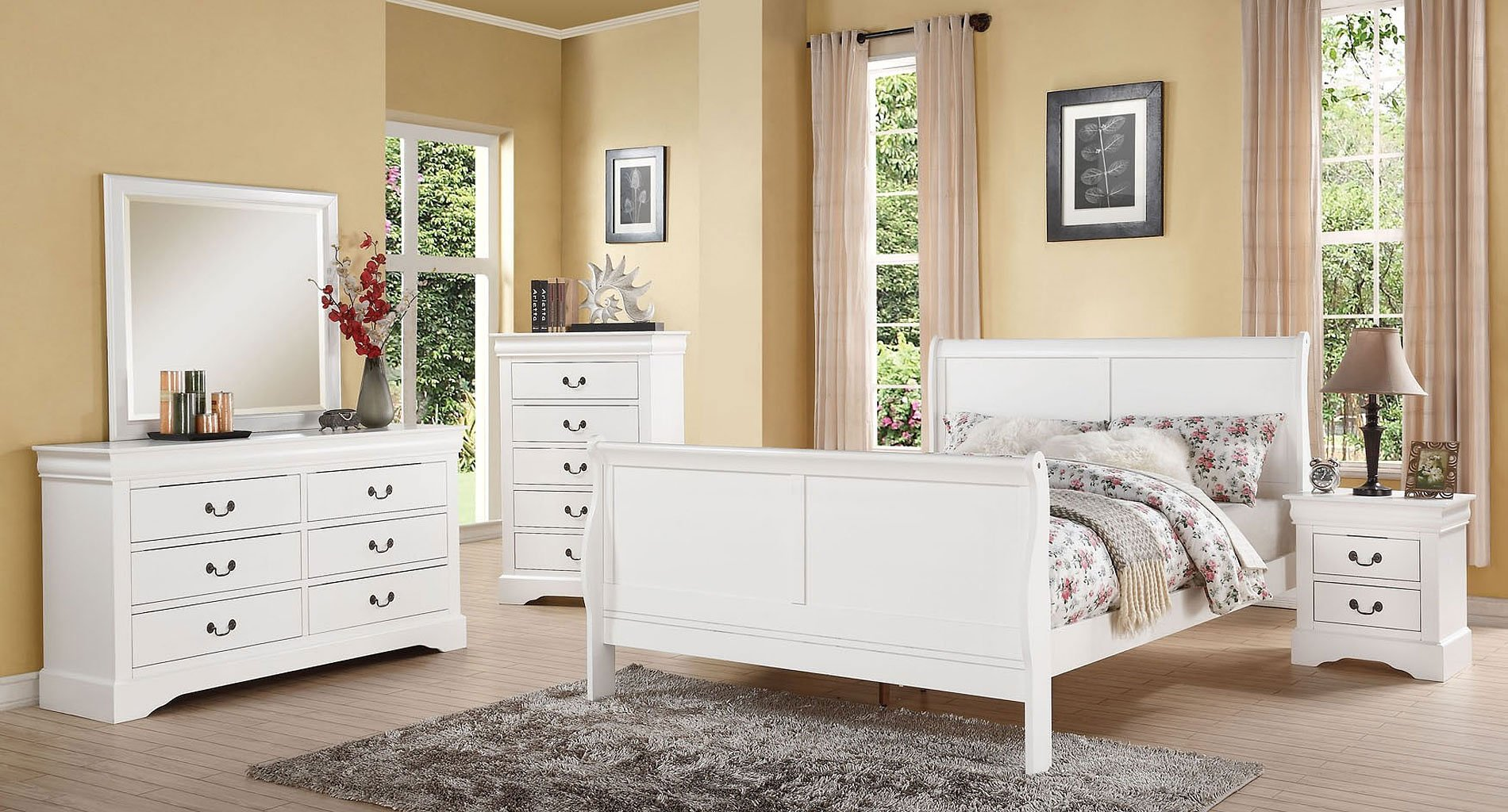 Louis Philippe III Youth Bedroom Set (White)