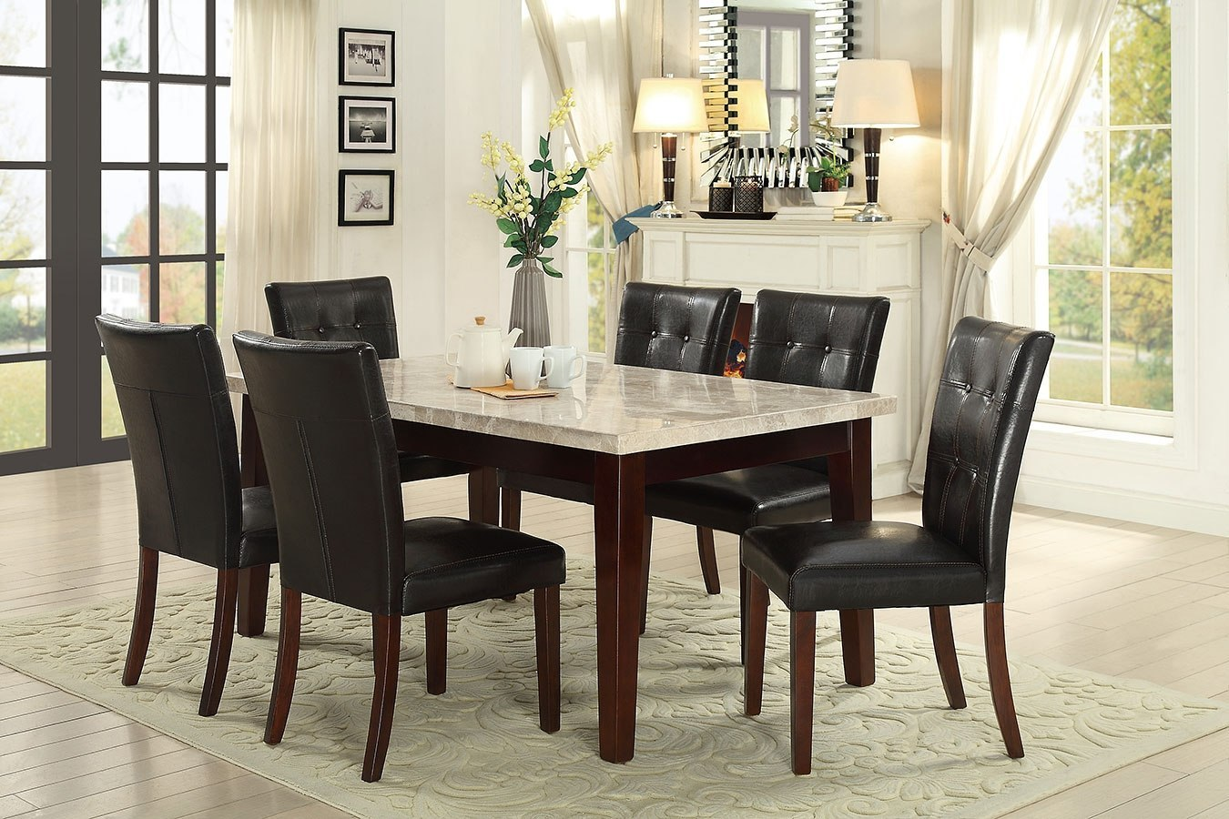Decatur Dining Room Set (White Marble Top)
