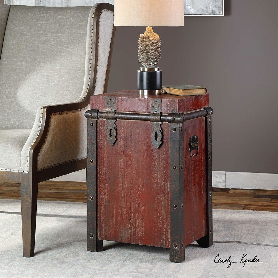 - Isaac Accent Table (Red) Uttermost Furniture Cart