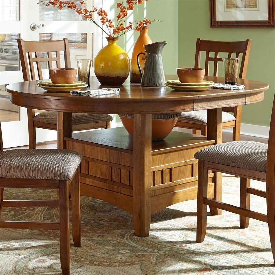 Santa Rosa Round Dining Room Set (Mission Oak) Liberty