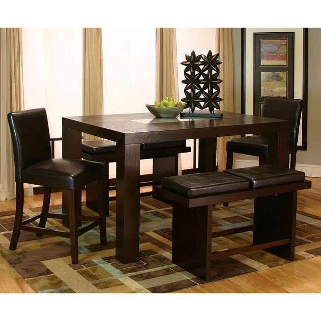 Kemper Rectangular Counter Dining Set w/ Cordovan Chairs