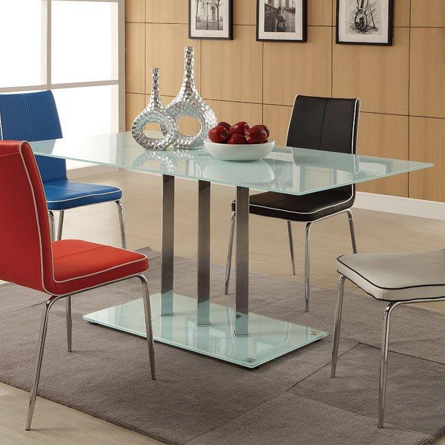 goran frosted glass top dining table homelegance furniture cart. Black Bedroom Furniture Sets. Home Design Ideas