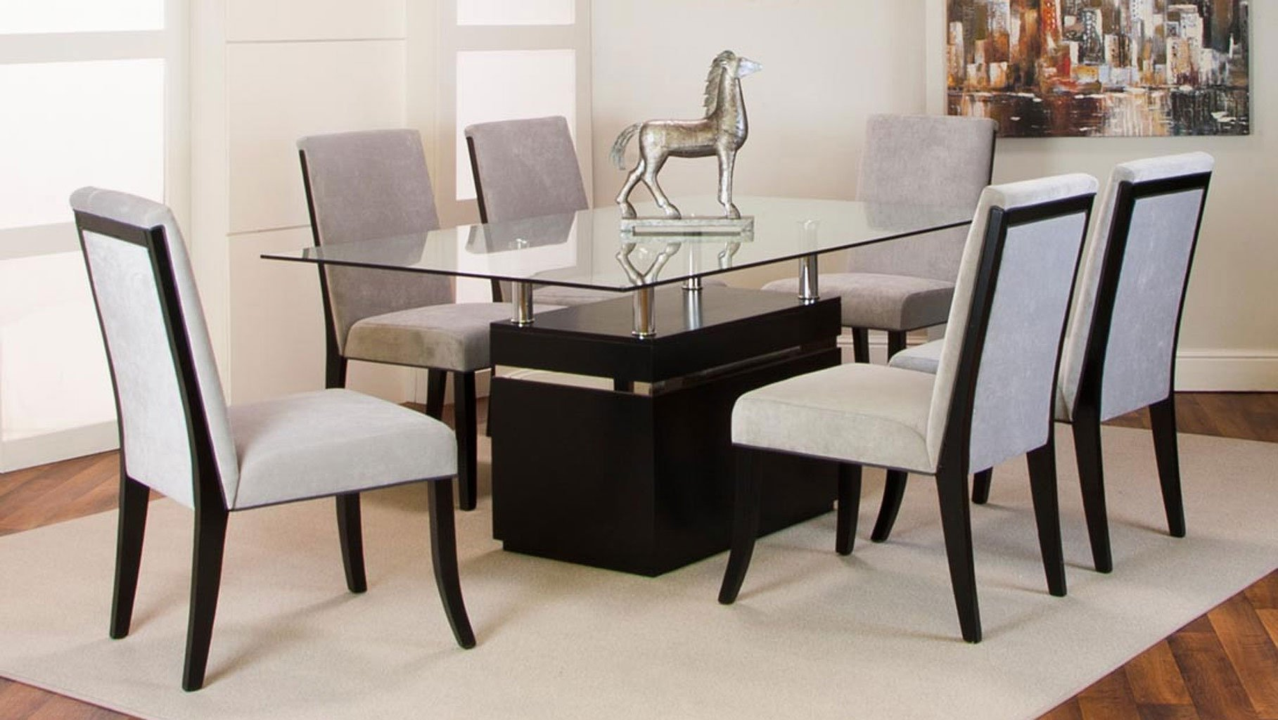 Nicole clear glass top dining room set
