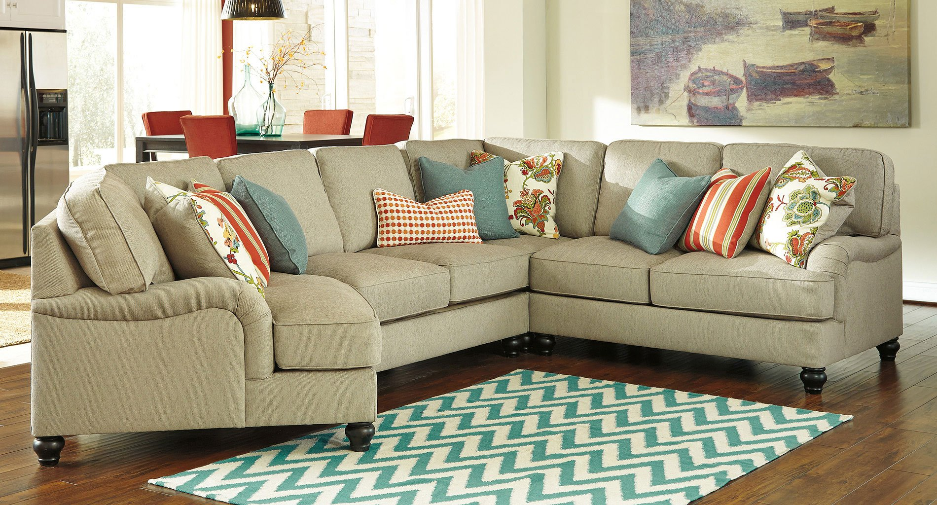 Charmant Kerridon Putty Modular Sectional W/ Cuddler