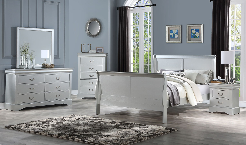 Louis philippe iii sleigh bedroom set platinum acme - Louis philippe bedroom collection ...