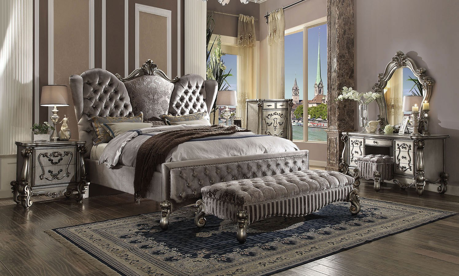 Versailles Upholstered Bedroom Set Antique Platinum Acme Furniture Cart