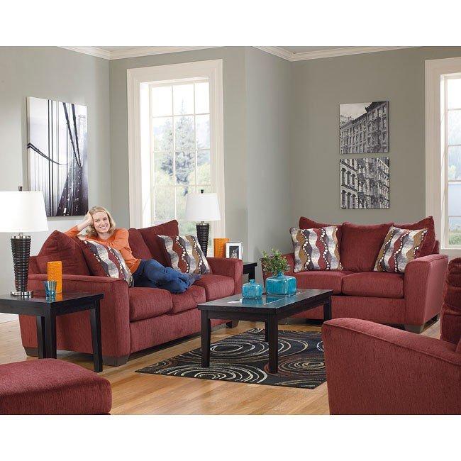 Brogain Burgundy Living Room Set