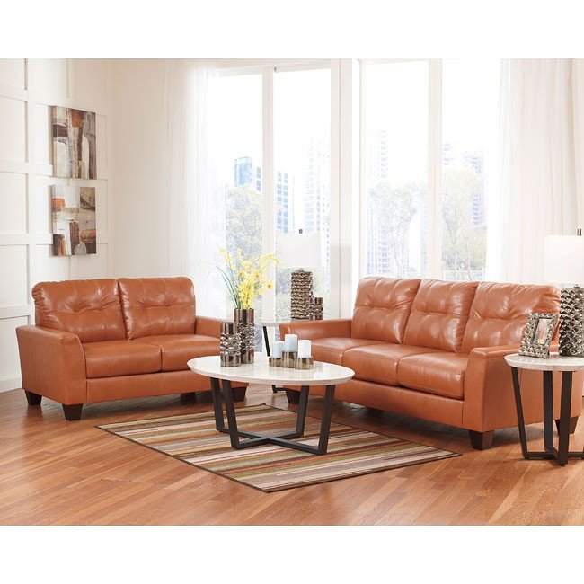 Paulie DuraBlend Orange Living Room Set