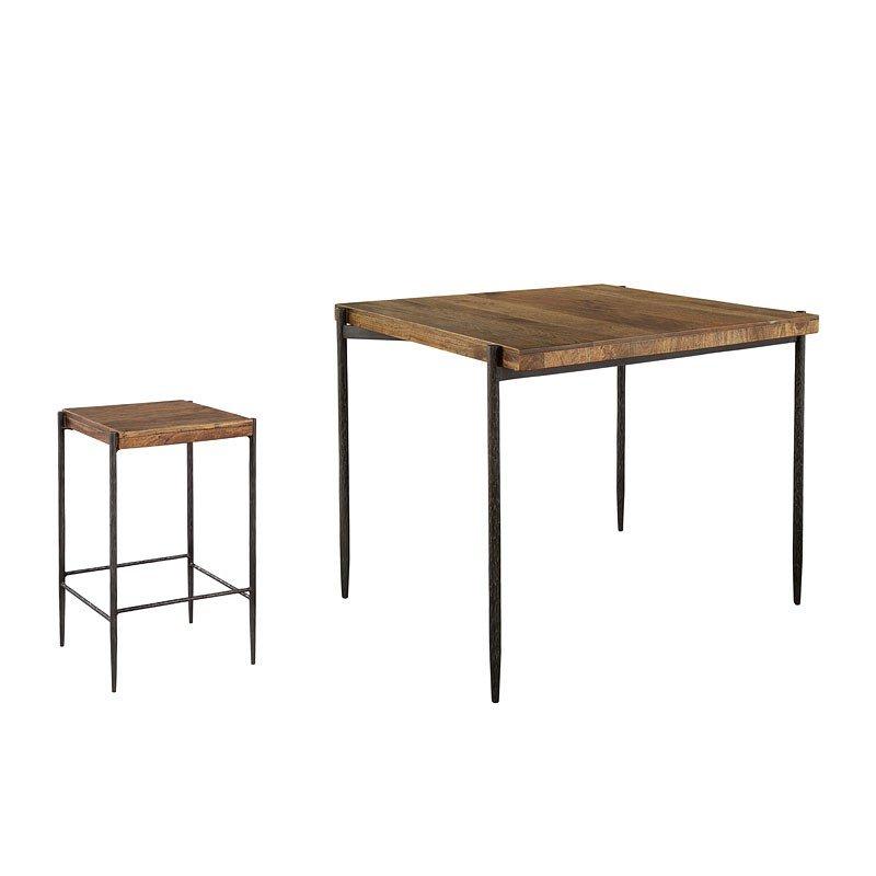 Metal And Wood Square Pub Table Set