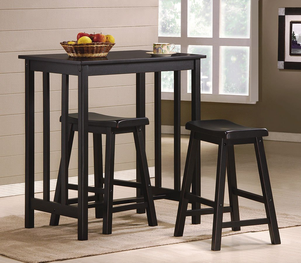 Bar Table Chairs Set Crown Mark Alyssa 3 Piece Bar Table: Dina 3-Piece Counter Height Dinette Crown Mark Furniture