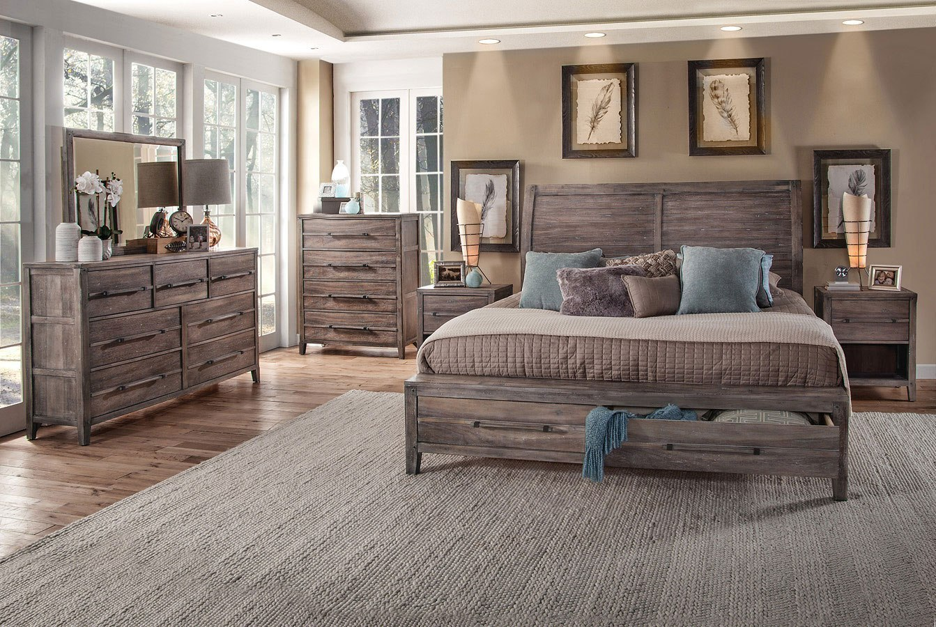 Aurora Sleigh Storage Bedroom Set Weathered Grey