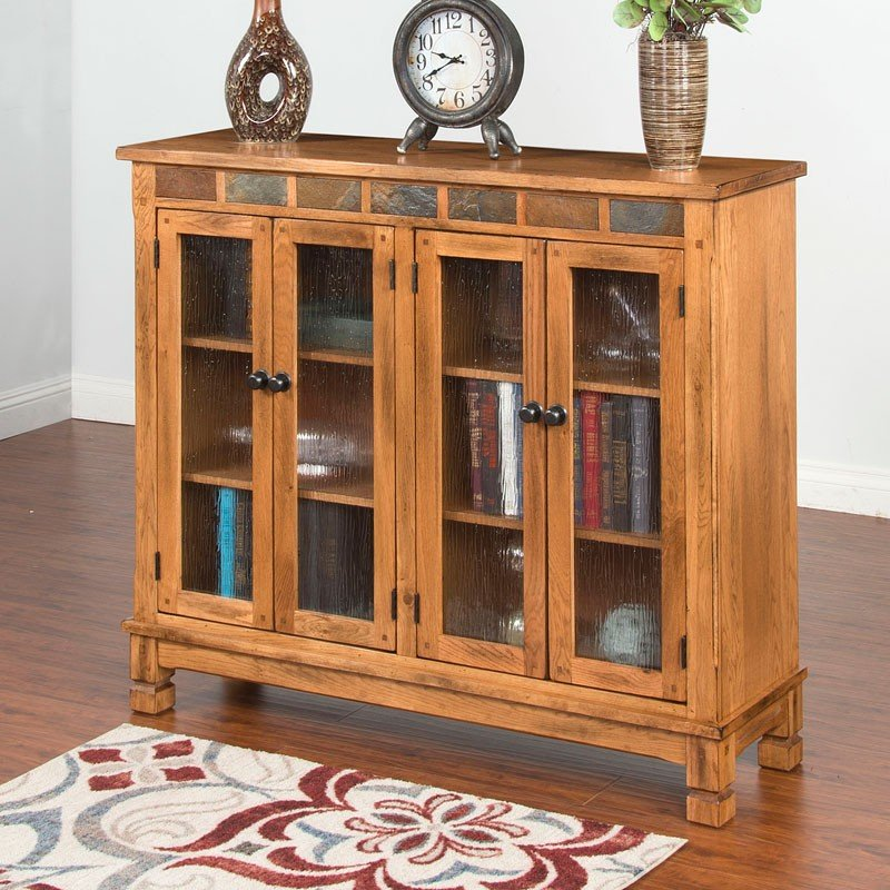 Glass Bookshelf Designs: Sedona Bookcase W/ 4 Glass Doors Sunny Designs, 1 Reviews
