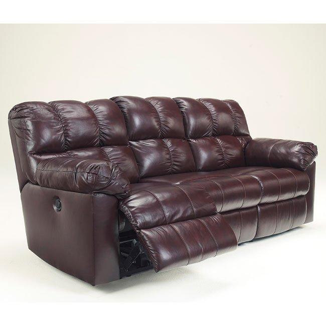 Kennard Burgundy Reclining Sofa w/ Power