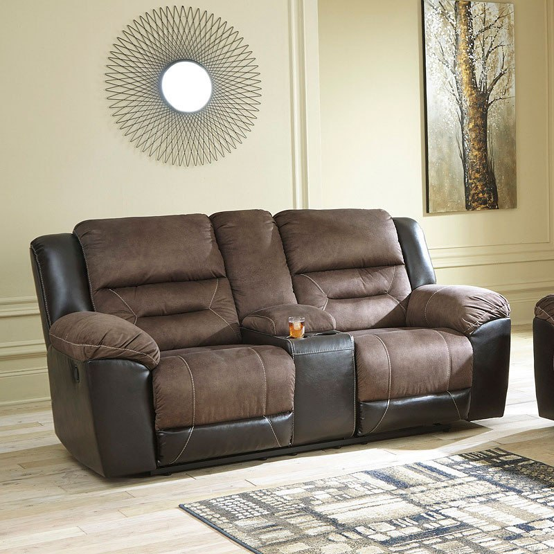 Earhart Chestnut Reclining Loveseat W Console Signature Design