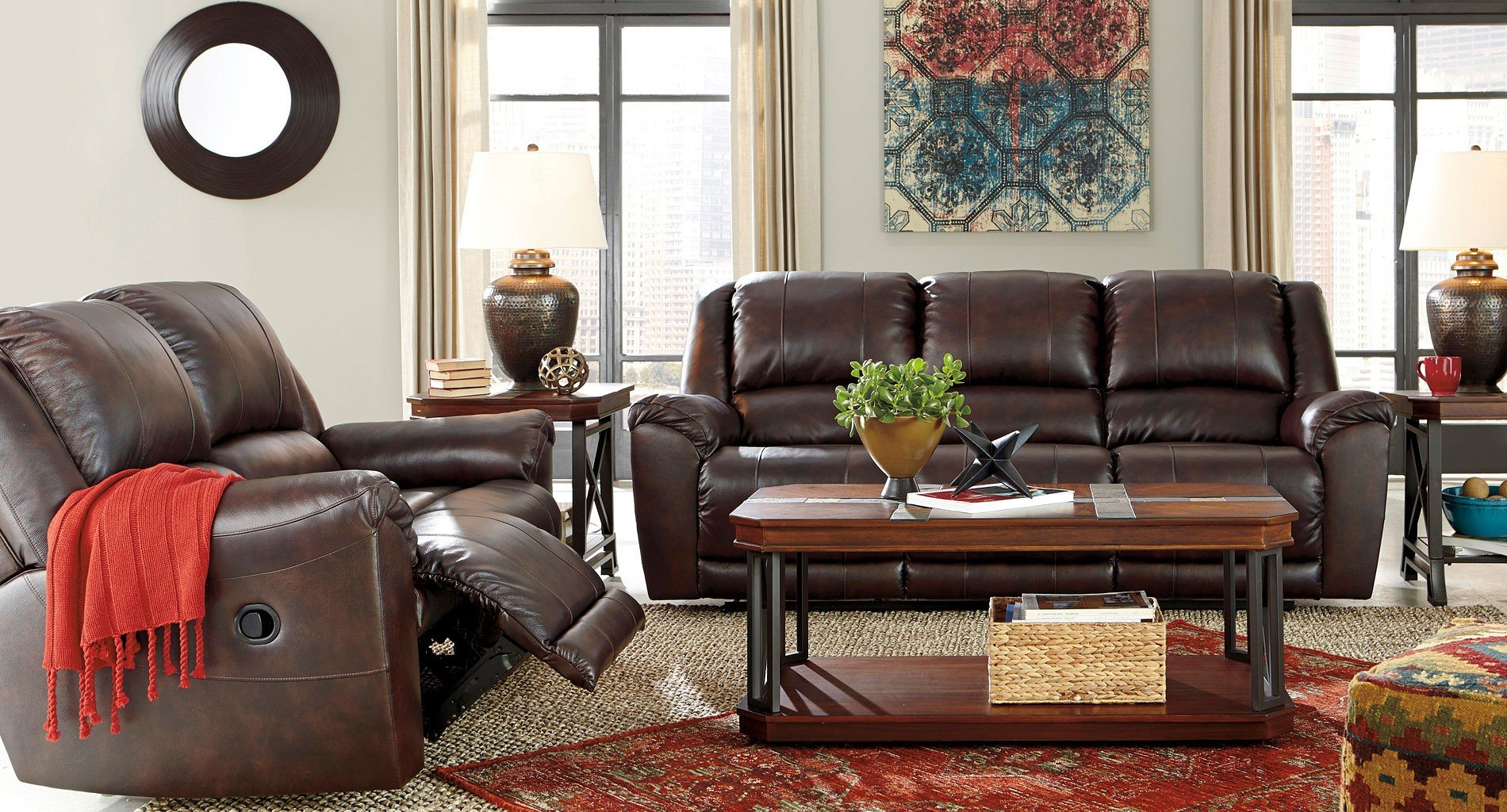 Yancy Walnut Reclining Living Room Set Signature Design Furniture Cart