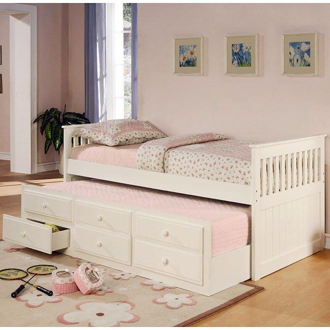 La Salle Twin Bed W Trundle White Coaster Furniture 1