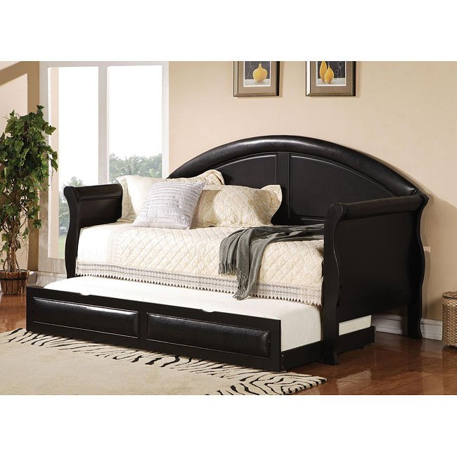 Black Vinyl Twin Daybed w/ Trundle