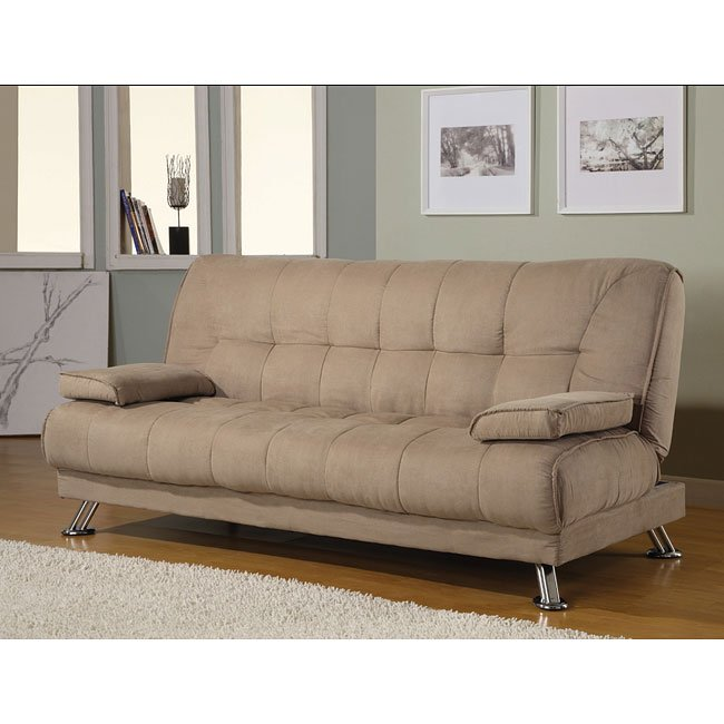 Magnificent Tan Microfiber Sofa Bed W Removable Armrests Squirreltailoven Fun Painted Chair Ideas Images Squirreltailovenorg