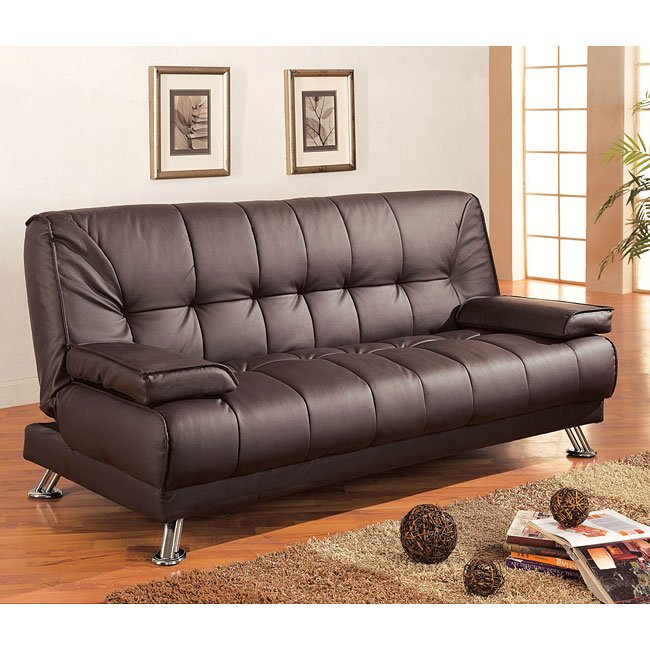 Brown Faux Leather Sofa Bed Coaster