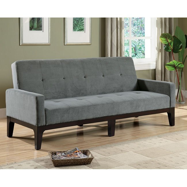 Blue-Gray Microfiber Sofa Bed